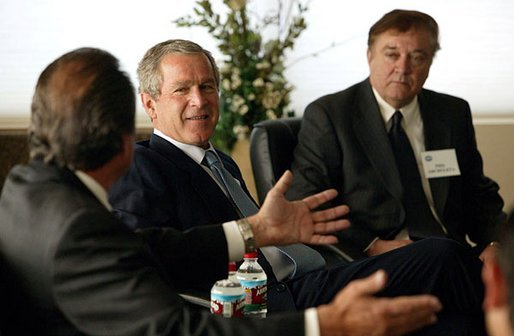 President George W. Bush meets one-on-one with small business owners and employees in Bernalillo, N.M., Monday, May 12, 2003. White House photo by Susan Sterner