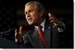 President George W. Bush delivers remarks on his Jobs and Growth Plan at the Indiana State Fairgrounds in Indianapolis, Ind., Tuesday, May 13, 2003. White House photo by Susn Sterner.