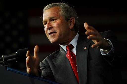 President George W. Bush delivers remarks on his Jobs and Growth Plan at the Indiana State Fairgrounds in Indianapolis, Ind., Tuesday, May 13, 2003. White House photo by Susan Sterner