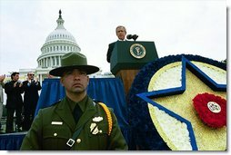 "President George W. Bush speaks during the 22nd Annual Peace Officers Memorial Service at the U.S. Capitol in Washington, D.C., Thursday, May 15, 2003. ""Over the past 20 months, Americans have rediscovered how much we owe the men and women who repeat an oath and carry a badge,"" said the President.  White House photo by Paul Morse"