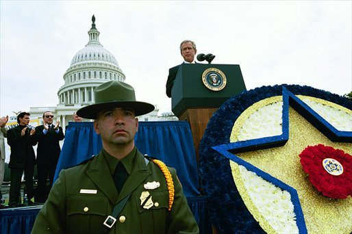 President George W. Bush speaks during the 22nd Annual Peace Officers' Memorial Service at the U.S. Capitol in Washington, D.C., Thursday, May 15, 2003.