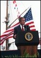 "President George W. Bush delivers the United States Coast Guard Academy Commencement Address in New London, Conn., Wednesday, May 21, 2003. ""The Coast Guard is also playing a vital role in America's strategy to confront terror before it comes to our shores,"" said the President. ""In the Iraqi theater, Coast Guard cutters and patrol boats and buoy tenders, and over a thousand of your finest active duty and reserve members protected key ports and oil platforms, detained Iraqi prisoners of war, and helped speed the delivery of relief supplies to the Iraqi people."" White House photo by Eric Draper."