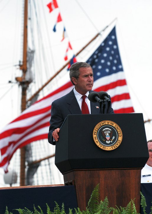 "President George W. Bush delivers the United States Coast Guard Academy Commencement Address in New London, Conn., Wednesday, May 21, 2003. ""The Coast Guard is also playing a vital role in America's strategy to confront terror before it comes to our shores,"" said the President. ""In the Iraqi theater, Coast Guard cutters and patrol boats and buoy tenders, and over a thousand of your finest active duty and reserve members protected key ports and oil platforms, detained Iraqi prisoners of war, and helped speed the delivery of relief supplies to the Iraqi people."" White House photo by Eric Draper"