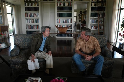 President George W. Bush meets with Japanese Prime Minister Junichiro Koizumi at his ranch near Crawford, Texas, Friday morning, May 23, 2003. White House photo by Eric Draper