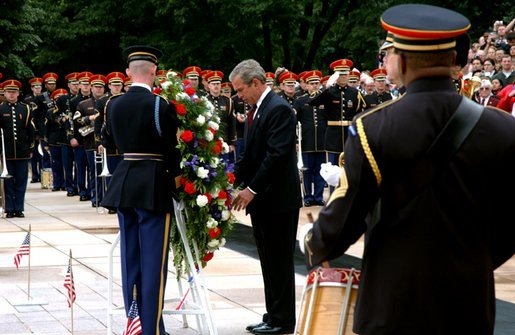 President George W. Bush visits Arlington National Cemetery on Memorial Day and lays a wreath at the Tomb of the Unknown Soldier. White House photo by Tina Hager.