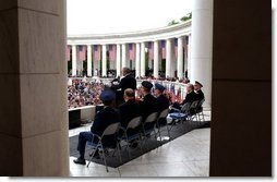 President George W. Bush gives a Memorial Day address at Arlington National Cemetery. Monday, May 26, 2003.  White House photo by Tina Hager
