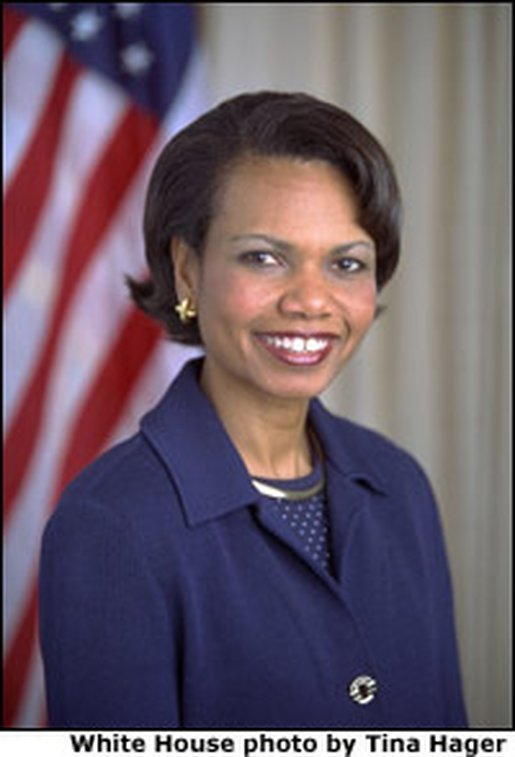 Official portrait of National Security Advisor Dr. Condoleezza Rice White House photo by Tina Hager.