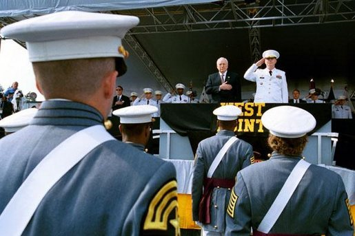 Vice President Dick Cheney stands for the National Anthem at the U. S. Military Academy Commencement Ceremony in West Point, N.Y., May 31, 2003. White House photo by David Bohrer