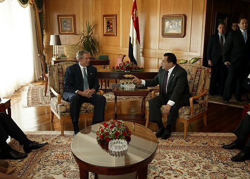 President George W. Bush and President Hosni Mubarak of Egypt during a meeting at the Red Sea Summit in Sharm El Sheikh, Egypt June 3, 2003. White House photo by Paul Morse.