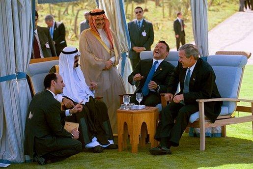 President George W. Bush meets with Prince Abdullah Bin Abd Al Aziz of Saudi Arabia (center, left) and King Abdullah Bin Al Hussein of Jordan (center, right) at the Four Seasons Resort in Sharm El Sheikl, Egypt, June 3, 2003. White House photo by Eric Draper.