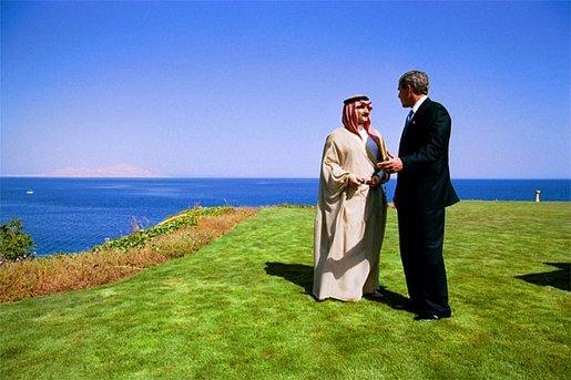 President George W. Bush talks with the King Hamad Bin Issa Al Khalifa of Bahrain near the shore of the Red Sea in Egypt June 3, 2003. White House photo by Eric Draper.