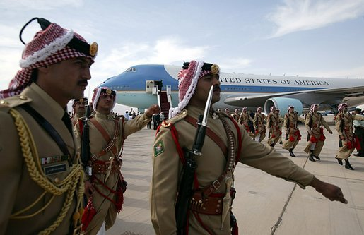 President George W. Bush departs King Hussein International Airport in Aqaba, Jordan June 4, 2003. White House photo by Paul Morse