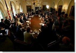 President George W. Bush addresses the media during a Cabinet Meeting in the Cabinet Room Monday, June 9, 2003. The President discussed his recent trip overseas and several domestic issues.  White House photo by Eric Draper