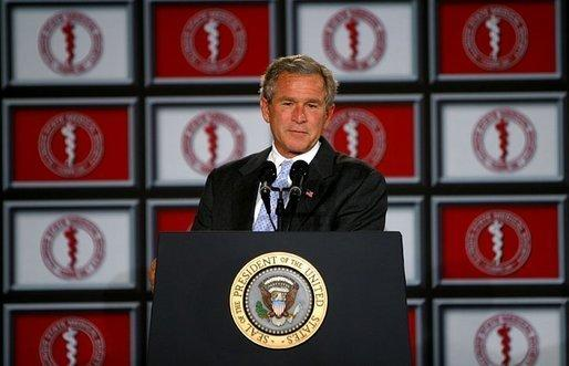 President George W. Bush addresses the Illinois State Medical Society in Chicago Wednesday, June 11, 2003. White House photo by Paul Morse