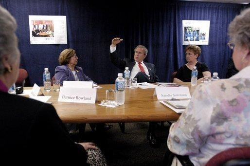 President George W. Bush speaks to seniors during a roundtable discussion about Medicare at New Britain General Hospital in New Britain, Conn., Thursday, June 12, 2003. White House photo by Eric Draper.