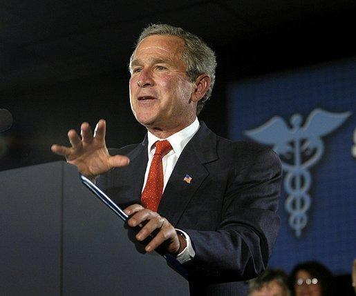 President George W. Bush addresses seniors about Medicare at New Britain General Hospital in New Britain, Conn., Thursday, June 12, 2003. White House photo by Eric Draper.