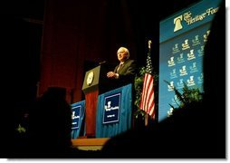 "Vice President Dick Cheney talks about Medicare and health care at the American Association of Health Plans' annual meeting in Washington, D.C., June 13, 2003. ""We seek a health care system where all Americans have an insurance policy and can choose their own doctors, and where seniors, the disabled, and low-income people receive the assistance they need,"" Vice President Cheney said. ""And we are determined to keep the patient-doctor relationship at the center of American health care.""  White House photo by Tina Hager"