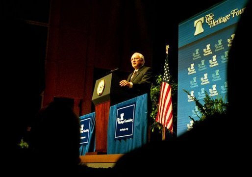 "Vice President Dick Cheney talks about Medicare and health care at the American Association of Health Plans' annual meeting in Washington, D.C., June 13, 2003. ""We seek a health care system where all Americans have an insurance policy and can choose their own doctors, and where seniors, the disabled, and low-income people receive the assistance they need,"" Vice President Cheney said. ""And we are determined to keep the patient-doctor relationship at the center of American health care."" White House photo by Tina Hager."