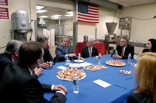 President George W. Bush speaks during a meeting with small business owners and employees at Andrea Foods in Orange, N.J., Monday, June 16, 2003. White House photo by Eric Draper