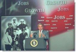 "President George W. Bush discusses employment training at Northern Virginia Community College in Annandale, Va., Tuesday, June 17, 2003. ""We want an educated work force, to keep this country the most productive in the world,"" said the President. ""And with the right focus and the right policies out of the United States Congress, this is an objective that I'm confident we can achieve.""  White House photo by Tina Hager"