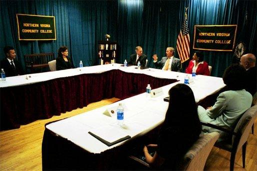 President George W. Bush holds a roundtable discussion on unemployment training at Northern Virginia Community College in Annandale, Va., Tuesday, June 17, 2003. White House photo by Tina Hager