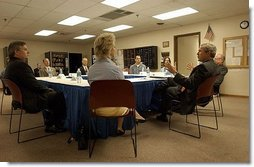 President George W. Bush meets with local business persons in Fridley, Minn., Thursday, June 19, 2003.  White House photo by Tina Hager