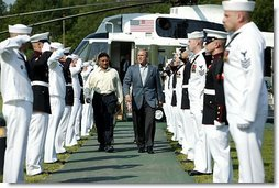 "President George W. Bush welcomes President Pervez Musharraf of Pakistan to Camp David Tuesday, June 24, 2003. ""Since September 11th attacks, Pakistan has apprehended more than 500 al Qaeda and Taliban terrorists -- thanks to the effective border security measures and law enforcement cooperation throughout the country, and thanks to the leadership of President Musharraf,"" said President Bush in his remarks.  White House photo by David Bohrer"