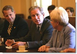 President George W. Bush meets with bipartisan members of the House of Representatives on Medicare in the Cabinet Room Wednesday, June 25, 2003. Seated with President Bush are Rep. Nancy Johnson, R-Conn., right, and Rep. Steve Israel, D-N.Y., left.  White House photo by Susan Sterner