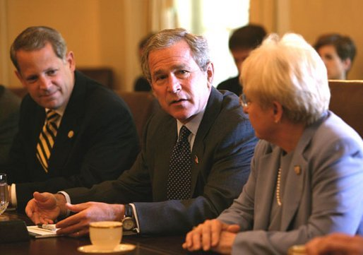 President George W. Bush meets with bipartisan members of the House of Representatives on Medicare in the Cabinet Room Wednesday, June 25, 2003. Seated with President Bush are Rep. Nancy Johnson, R-Conn., right, and Rep. Steve Israel, D-N.Y., left. White House photo by Susan Sterner. White House photo by Susan Sterner.