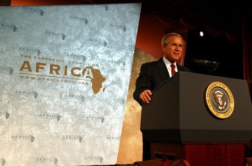 "President George W. Bush addresses the Corporate Council on Africa's U.S.- Africa Business Summit in Washington, D.C., Thursday, June 27, 2003. ""All of us here today share some basic beliefs. We believe that growth and prosperity in Africa will contribute to the growth and prosperity of the world. We believe that human suffering in Africa creates moral responsibilities for people everywhere. We believe that this can be a decade of unprecedented advancement for freedom and hope and healing and peace across the African continent,"" President Bush said. White House photo by Paul Morse."