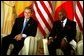 President George W. Bush meets with President Abdoulaye Wade of Senegal at the Presidential Palace in Dakar, Senegal, Tuesday morning, July 8, 2003. White House photo by Paul Morse.