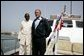 President George W. Bush and President Abdoulaye Wade of Senegal ride aboard the Presidential Yacht to Goree Island, Senegal, Tuesday, July 8, 2003. White House photo by Paul Morse.