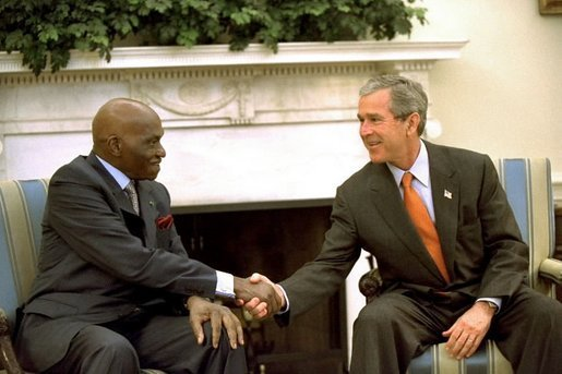President George W. Bush met with President Abdoulaye Wade of Senegal today in Senegal. This photo was taken when President Wade met with President Bush in the Oval Office on June 18, 2002. File photo.