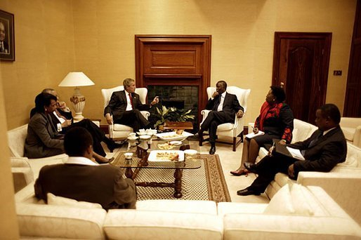"Presidents Bush and Mbeki meet at the Union House in Pretoria, South Africa, Wednesday, July 9, 2003. ""Your nation's recent history is a great story of courage and persistence in the pursuit of justice,"" said President Bush to President Mbeki, during the press conference after their meeting. ""This is a country that threw off oppression and is now the force of freedom and stability, and a force for progress throughout the continent of Africa."" White House photo by Paul Morse"