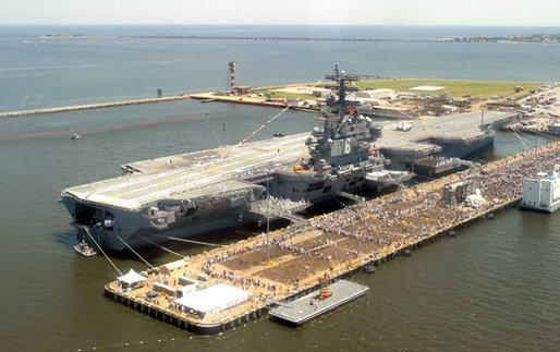 Thousands of people gathered at the Norfolk Naval Station in Norfolk, Va., to celebrate the commissioning of the USS Ronald Reagan, the U.S. Navy's newest nuclear-powered aircraft carrier, July 12, 2003.  White House photo by David Bohrer.