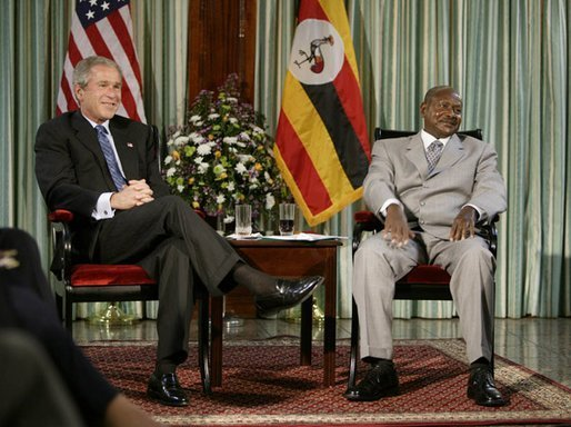 President George W. Bush meets with President Yoweri Museveni of Uganda Friday, July 11, 2003 in Entebbe, Uganda. White House photo by Paul Morse.