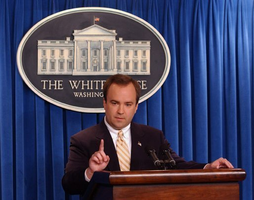 Press Secretary Scott McClellan responds to a question during his White House press briefing, Tuesday, July 15, 2003. White House photo by Tina Hager
