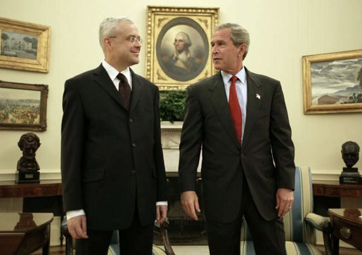 President George W. Bush meets with Vladimir Spidla, Prime Minister of the Czech Republic, in the Oval Office Tuesday, July 15, 2003. White House photo by Paul Morse.