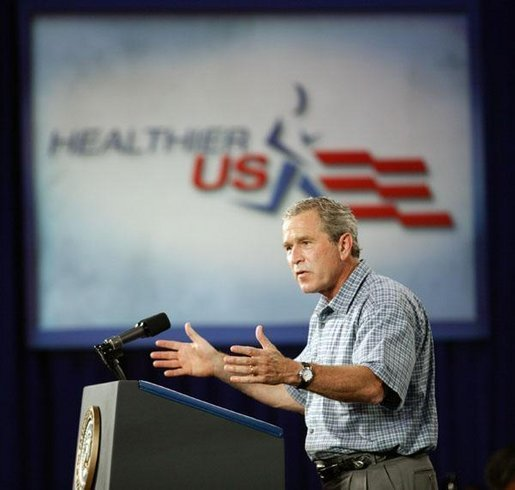 President George W. Bush delivers remarks on his Health and Fitness Initiative in Dallas, Texas, Friday, July 18, 2003. White House photo by Eric Draper