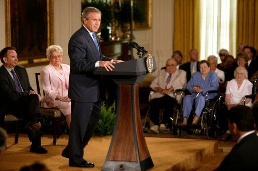 "President George W. Bush makes remarks on the 38th anniversary of Medicare in the East Room Wednesday, July 30, 2003. ""The 38th anniversary of Medicare is a time for action. The purpose of the Medicare system is to deliver modern medicine to America's seniors. That's the purpose. And in the 21st century, delivering modern medicine requires coverage for prescription drugs,"" President Bush said. White House photo by Paul Morse"