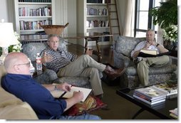 President George W. Bush meets with Secretary of State Colin Powell and Deputy Secretary of State Richard Armitage at his ranch in Crawford, Texas, Wednesday, Aug. 6, 2003.  White House photo by Susan Sterner