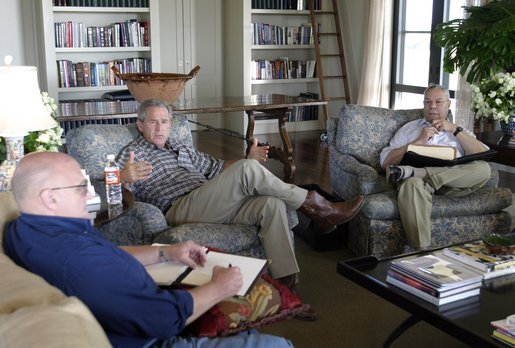 President George W. Bush meets with Secretary of State Colin Powell and Deputy Secretary of State Richard Armitage at his ranch in Crawford, Texas, Wednesday, Aug. 6, 2003. White House photo by Susan Sterner.