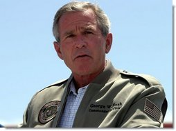 President George W. Bush makes remarks to military personnel and their families at Marine Air Corps Station Miramar near San Diego, CA on August 14, 2003.  White House photo by Paul Morse