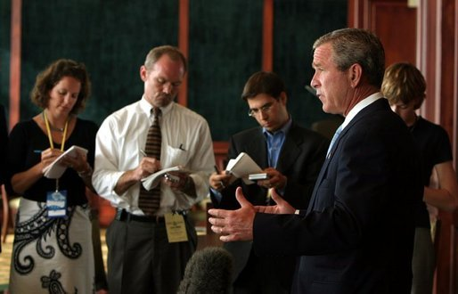 President George W. Bush speaks to reporters while in San Diego, CA on the power outage that effected a large part of east coast on August 14, 2003. White House photo by Paul Morse.