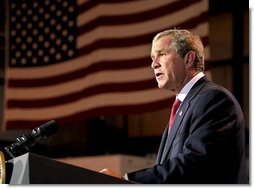 "President George W. Bush remarks on the bombing of the U.N. Headquarters in Iraq from his ranch in Crawford, Texas, Tuesday, August 19, 2003. ""Today in Baghdad terrorists turned their violence against the United Nations. The U.N. personnel and Iraqi citizens killed in the bombing were in that country on a purely humanitarian mission. Men and women in the targeted building were working on reconstruction, medical care for Iraqis. They were there to help with the distribution of food. A number have been killed or injured. And to those who suffer, I extend the sympathy of the American people,"" said the President.  White House photo by Paul Morse"