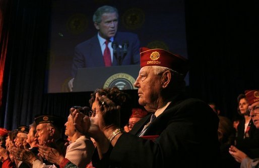 "President George W. Bush addresses the 85th Annual American Legion Convention in St. Louis, Mo., Tuesday, Aug. 26, 2003. ""In the 20th century, the American flag and the American uniform stood for something unique in history,"" President Bush said in his remarks. ""America's armed forces humbled tyrants and raised up and befriended nations that once fought against us."" White House photo by Paul Morse."
