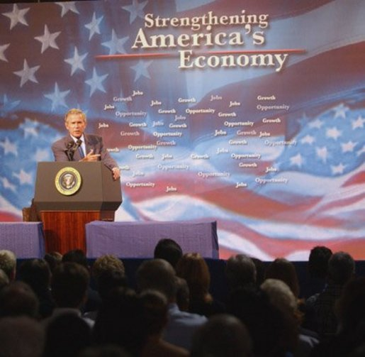 President George W. Bush addresses employees, small business owners and local families at the Langham company in Indianapolis, Indiana, Friday, Sept. 5, 2003. White House photo by Tina Hager