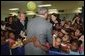 President George W. Bush visits with students from Kirkpatrick Elementary School in Nashville, Tenn., Monday, Sept. 8, 2003. White House photo by Tina Hager