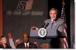 President George W. Bush highlights the tutoring and supplemental services provided in the No Child Left Behind Act in his remarks at Kirkpatrick Elementary School in Nashville, Tenn., Monday, Sept. 8, 2003.  White House photo by Tina Hager