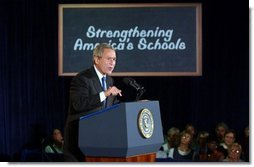 President George W. Bush delivers remarks on education at Hyde Park Elementary School in Jacksonville, Fla., Tuesday, Sept. 9, 2003.  White House photo by Tina Hager